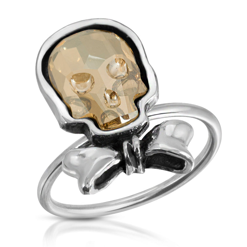 The W Brothers clear gold skull bowtie ring, stackable skull ring, skull rings collection at thewbros www.thewbros.com the w brothers clear gold crystal skull ring, clear gold skull ring crystal ring, stackable fashion ring, stack-able bowtie clear gold silver ring for women