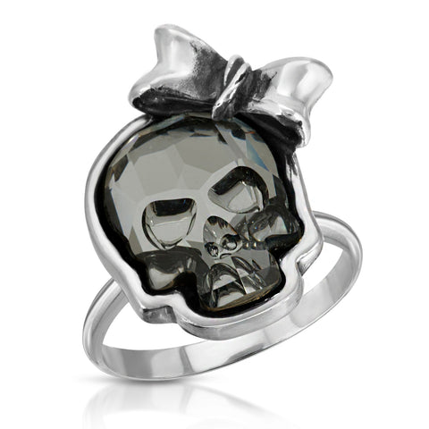 Clear Black Ribbon Skull Ring