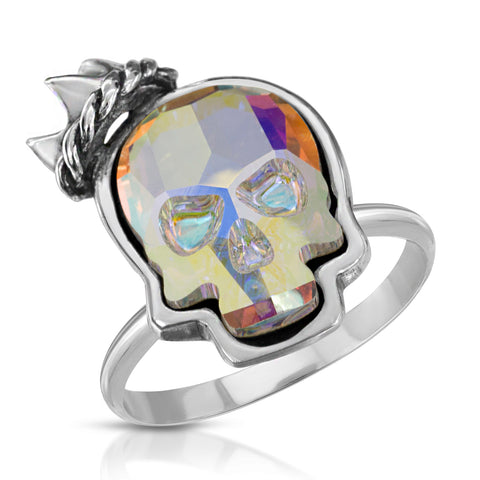 Opal Crown Skull Ring