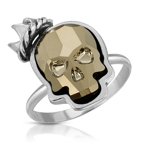Metallic Gold Crown Skull Ring
