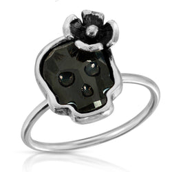 Jet Crown Skull Ring - The W Brothers, floral skull ring, flower black skull ring by thewbros, www.thewbros.com flower skull black crystal ring, stackable rings jewelry