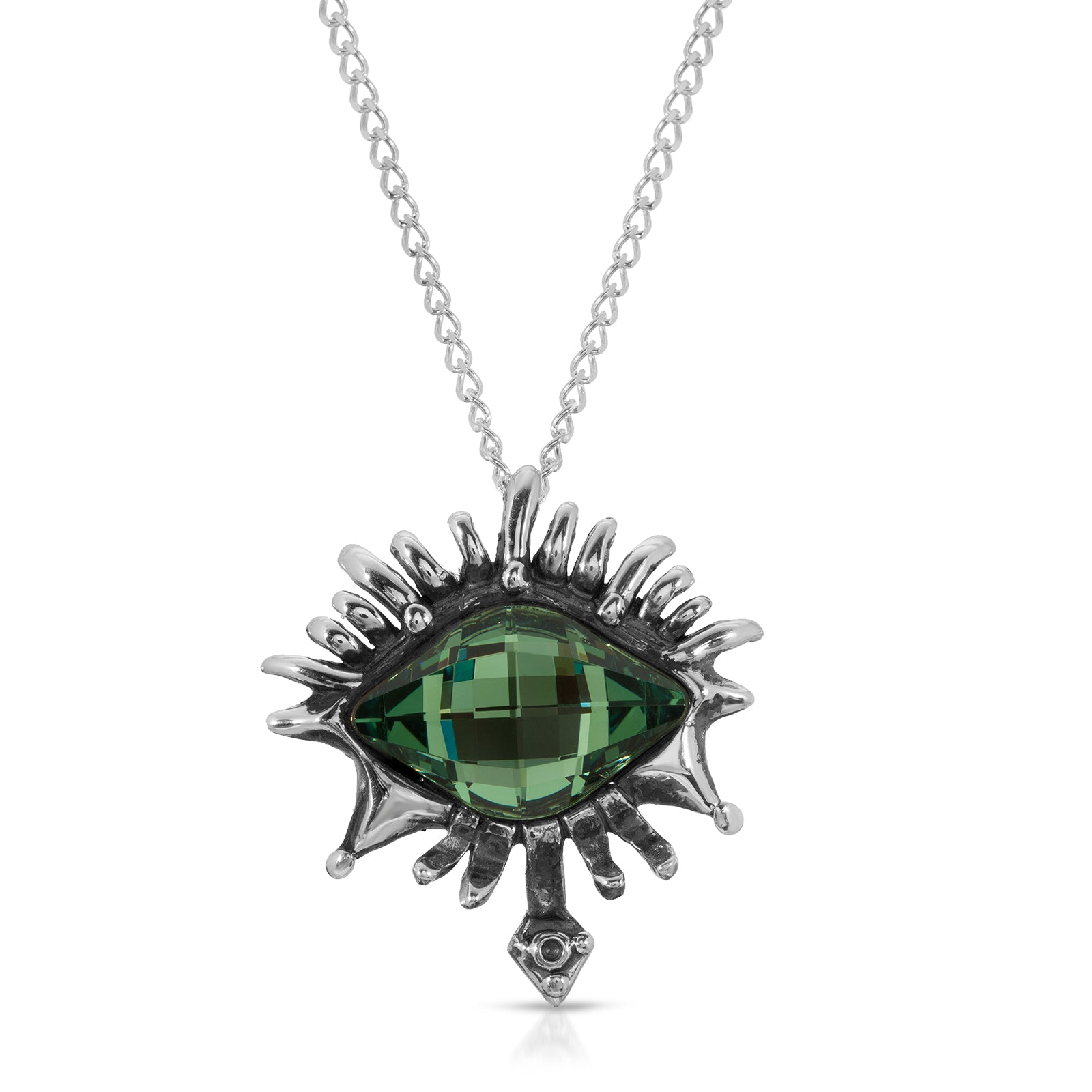 The W Brothers Premium Grade A 925 Sterling Silver Emerald Vision Swarovski Pendant, perfect for a fashionable statement for men and women's jewelry accessory. Available at www.thewbros.com