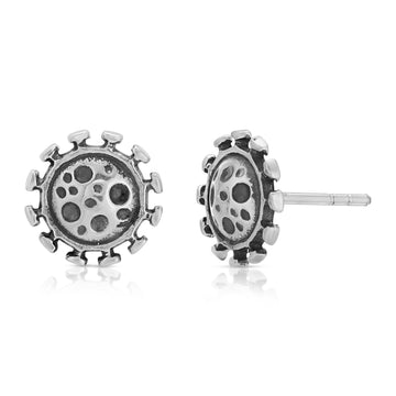The W Brothers microbes, 925 sterling silver jewelry studs earrings, microbes silver studs earrings, germs earrings, germz earrings, virus earrings, bacteria microbes earrings, premium A Grade silver anti-bacterial fun-