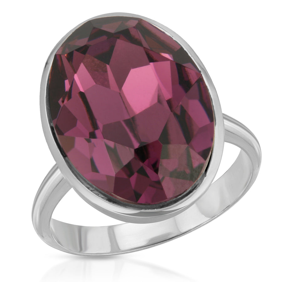 The W Brothers Amethyst Ecliptic Oval-Cut Silver Swarovski Ring, perfect for a fashion statement or a stylish look.