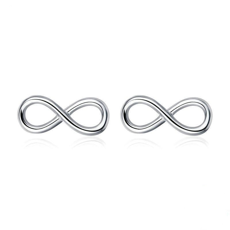 The W Brothers infinity love earrings, 925 sterling silver infinite forever earrings for women female