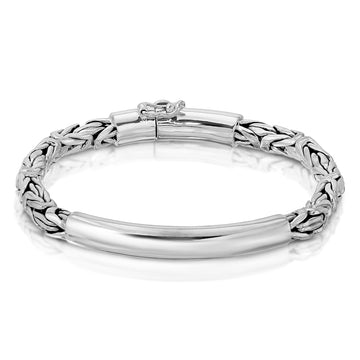 Byzantine chain silver bracelet for men The W Brothers silver jewelry