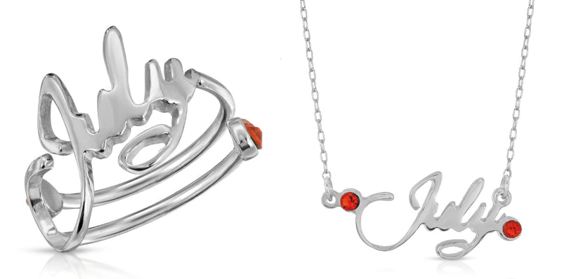 The W Brothers premium 925 Sterling silver month bundle July Ruby necklace pendant and ring bundle set -Birthstone birth month collection complete ring necklace jewelry set. thewbros 925 sterling silver swarovski crystals June birth month birth stone 2 piece complete jewelry set -thewbros