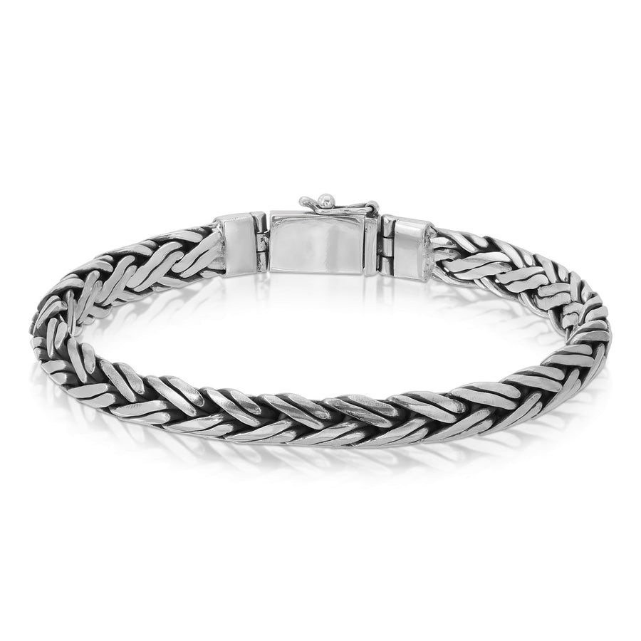 Twisted silver palma wheat chain 925 sterling silver bracelet The W Brothers men jewelry