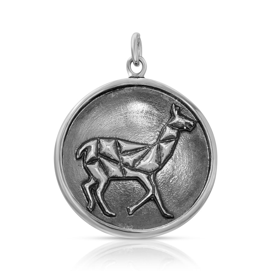 Mini Geometric Llama Pendant necklace sterling silver by The W Brothers