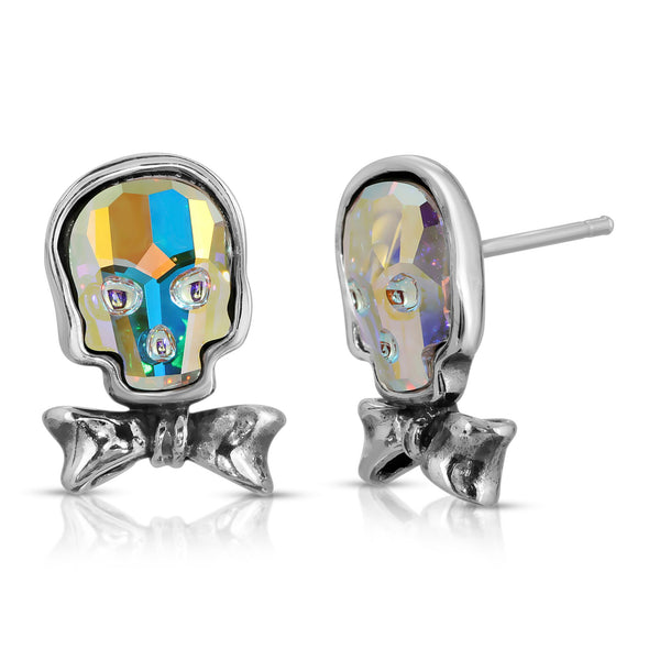 The W brothers Swarovski Skull Stud Earrings in opal with a gorgeous silver bow crafted from premium Grade A Sterling Silver. Perfect jewelry accessory stud earrings for fashionable statement women. Available at www.thewbros.com
