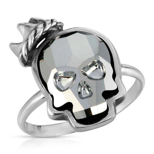 The W brothers Swarovski Skull Ring in silver night with a gorgeous silver crown crafted from premium Grade A Sterling Silver. Perfect jewelry accessory ring for fashionable statement women. Available at www.thewbros.com