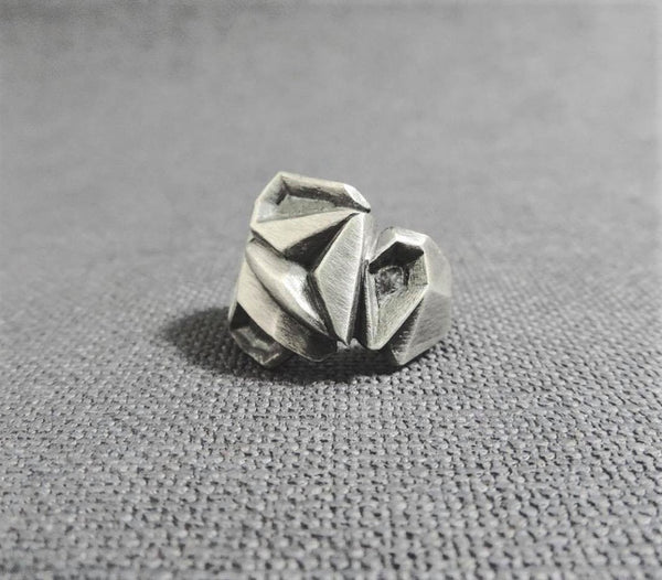 Metallic Rose Ring - The W Brothers, crafted in premium grade A 925 Sterling Silver Ring with geometric finishes around the band & a beautiful oxidized finish.