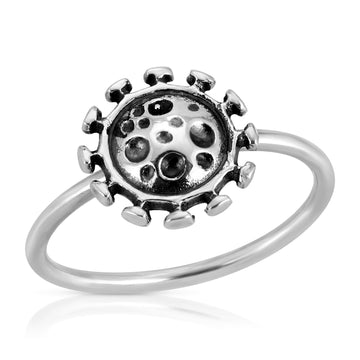 The W Brothers silver microbes ring, 925 sterling silver microbes ring jewelry, www.thewbros.com thewbros germz germs ring stackable premium A grade silver anti-bacterial jewelry