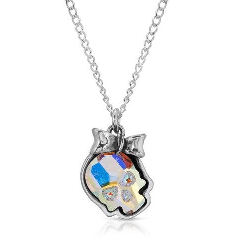 Opal Ribbon Skull Necklace
