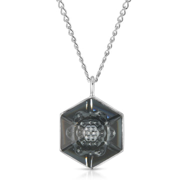 The W Brothers 18 mm Hexagon Dark Black Swarovski Pendant Necklace in Silver for girls, women, men , and male.