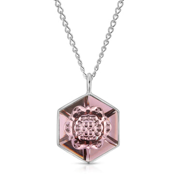 The W Brothers 18 mm Hexagon Pink smokey mauve Swarovski Pendant Necklace in Silver for girls, women, men , and male.