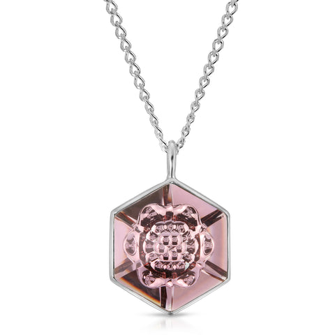 Smokey Mauve Hexagon Pendant (18 mm)