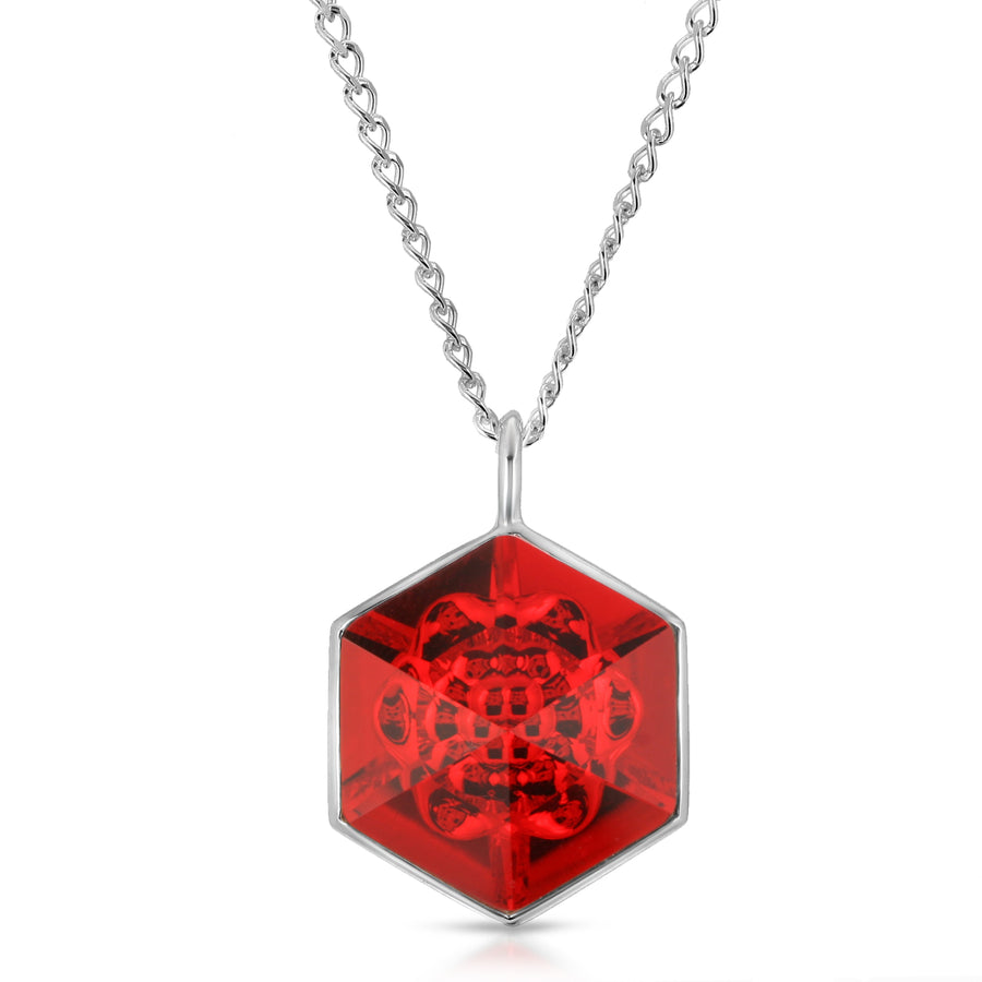 The W Brothers 18 mm Hexagon Light Siam Red Swarovski Pendant Necklace in Silver for girls, women, men , and male.
