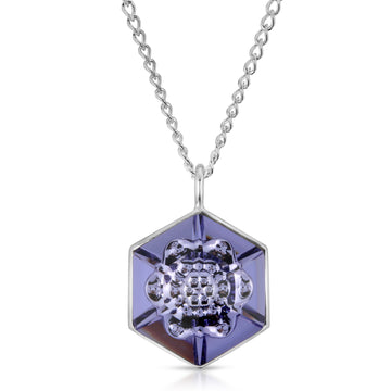 The W Brothers Swarovski 18 mm 4681 Vision Hexagon Fancy Stone tanzanite crystal pendant necklace for women woman necklaces jewelry layered look 925 sterling silver