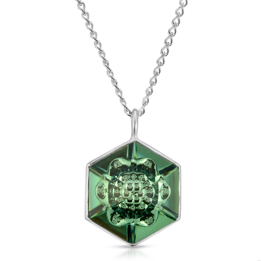 The W Brothers 18 mm Hexagon Erenite Green Swarovski Pendant Necklace in Silver for girls, women, men , and male.