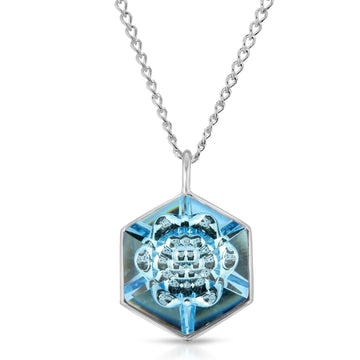 The W Brothers 18 mm Hexagon Aquamarine Blue Light Swarovski Pendant Necklace in Silver for girls, women, men , and male.