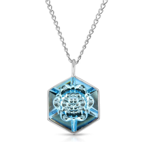 Aquamarine Hexagon Pendant (18 mm)