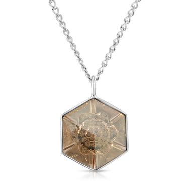 The W Brothers 18 mm Hexagon Peach Yellow Topaz Swarovski Pendant Necklace in Silver for girls, women, men , and male.