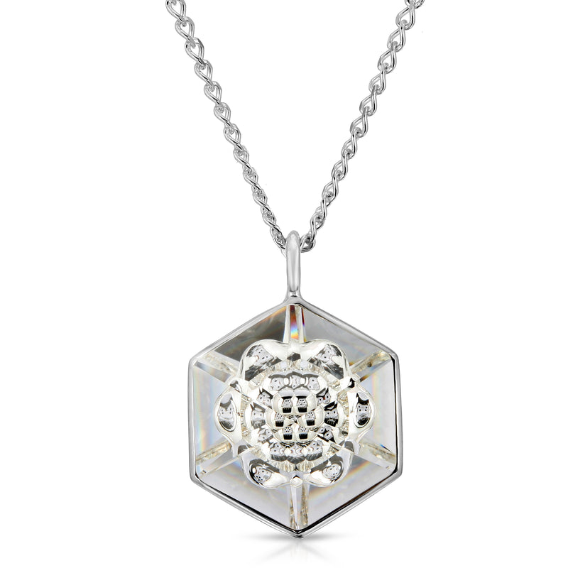 White Hexagon Swarovski Pendant (18 mm) - The W Brothers