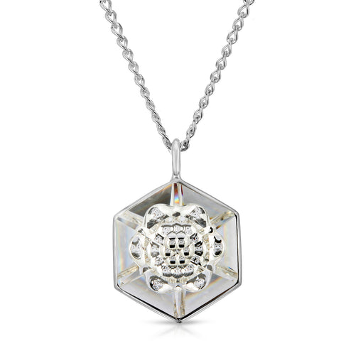 White Hexagon Pendant (18 mm)
