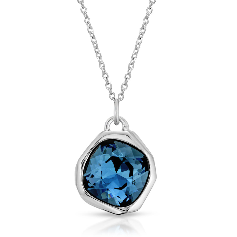 The W Brothers Meteor Sapphire Blue Swarovski Crystal Pendant Necklace, crafted with Premium 925 Sterling Silver for male, men, women, female, girls.
