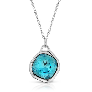 The W Brothers Light Azore Blue Meteor Swarovski Pendant Necklace made of 925 Sterling Silver for male, female, men, and women.