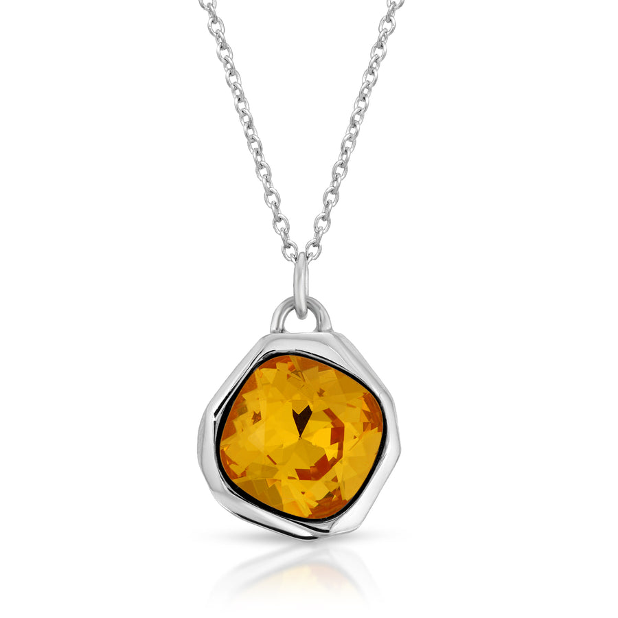 The W Brothers orange Topaz Swarovski Meteor Pendant Necklace made from premium 925 Sterling silver, perfect for men and women.