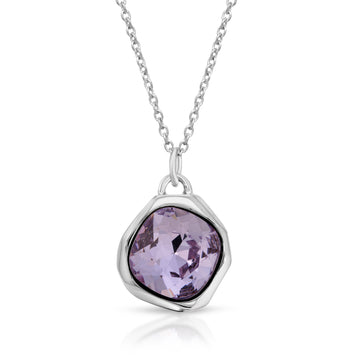 The W Brothers Purple Violet Tanzanite Swarovski Crystal Pendant Necklace made from premium grade 925 Sterling Silver, perfect for men and women.