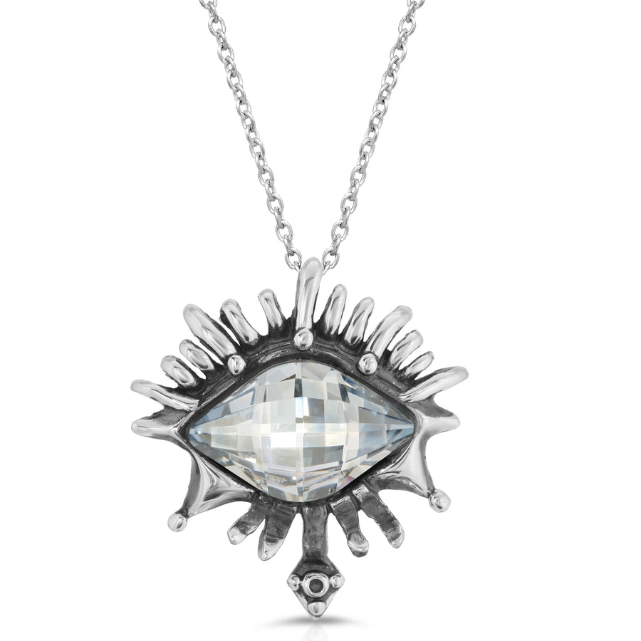 The W Brothers White Diamond Swarovski Crystal Vision Pendant, crafted with Premium A Grade 925 Sterling Silver eye necklace.