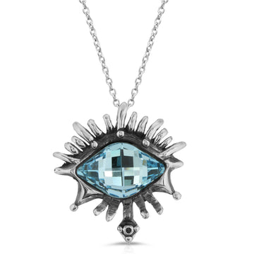 The W Brothers Indian Sapphire Vision Swarovski Pendant Necklace, crafted from the highest grade of Premium A Grade Sterling Silver, set with a tri-toned Swarovski Eye Indian Sapphire, designed for an elegant fashion statement.