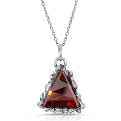 Trinity Cut Ruby Swarovski Pendant - The W Brothers, tri-toned red Swarovski triangle pendant, A Grade 925 sterling silver swarvoski crystal pendant thewbros thewbrother swarovski trinity collection necklace and ring set unique fine silver jewelry brilliant crystal pendant necklace