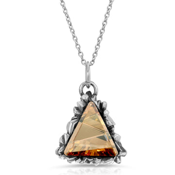 The W Brothers Topaz Trinity Swarovski Pendant Necklace made with 925 Sterling Silver, perfect for men and women fashion.