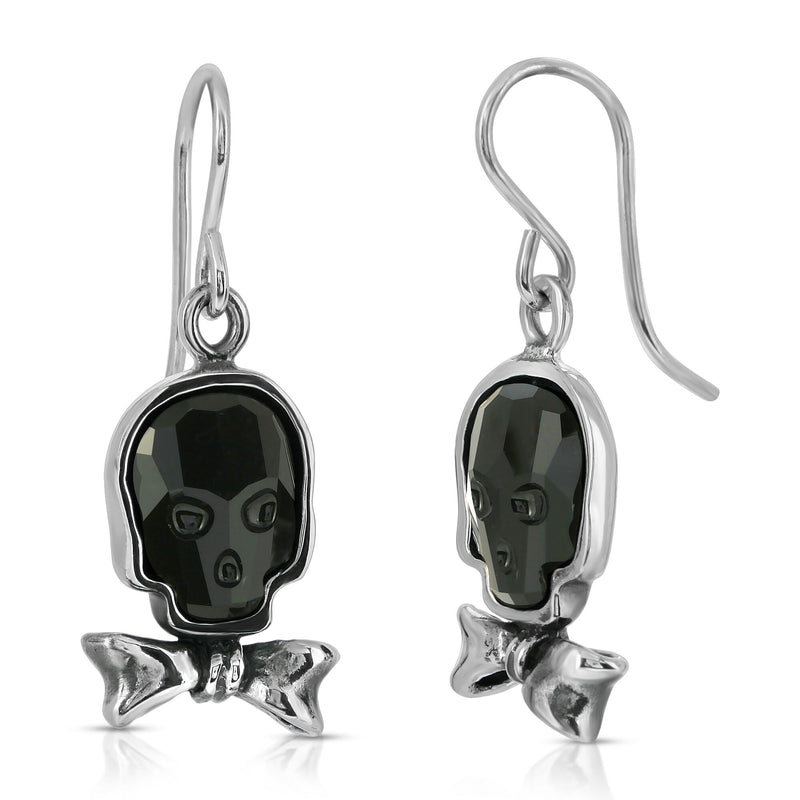 The W brothers Swarovski Skull Earrings in jet black with a gorgeous silver bowtie crafted from premium Grade A Sterling Silver. Perfect jewelry accessory earrings for fashionable statement women. Available at www.thewbros.com