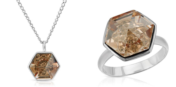 The W Brothers 14 mm Hexagon Peach Yellow Topaz Swarovski Pendant Necklace in Silver for girls, women, men , and male. Bundle Package Set for a great price only at www.thewbros.com
