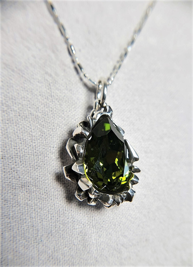 Pear Cut Green Peridot Swarovski Pendant - The W Brothers