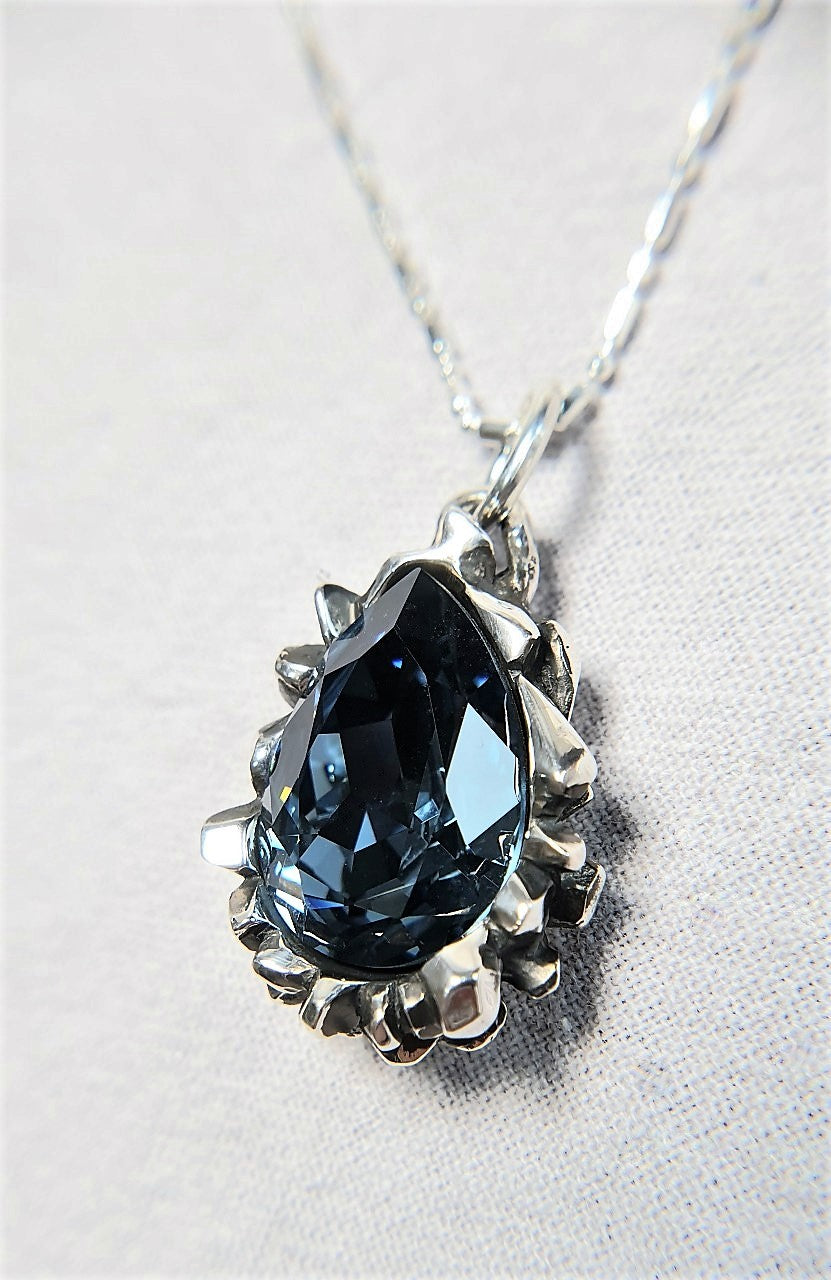 The W Brothers Pear Cut Blue Montana Swarovski 925 Sterling Silver Pendant Necklace, perfect for Female and women.