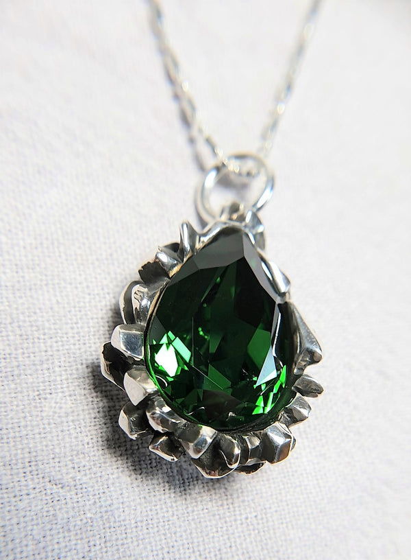 Pear Cut Emerald Swarovski Pendant - The W Brothers