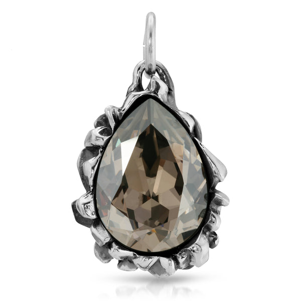 Pear Cut Black Diamond Swarovski Pendant - The W Brothers