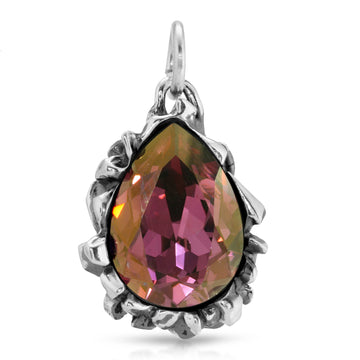 The W Brothers Pear Cut Pink Lilac Swarovski Pendant Necklace, crafted by 925 Sterling Silver, perfect for female and women.