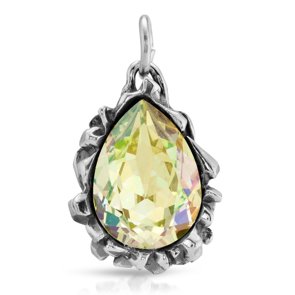Pear Cut Light Topaz Swarovski Pendant - The W Brothers, pear cut swarovski crystal collection, swarovski crystals thewbros fashion necklaces necklace pendant, opal light topaz pear cut tri-toned crystal necklace, the w bros www.thewbros.com swarovski pear cut collection fashion jewelry pendant jewelry, premium A Grade Silver 925 sterling silver