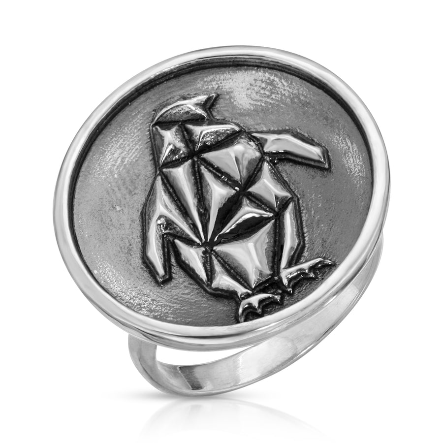 The W Brothers 925 Sterling Silver Geometric Penguin Ring