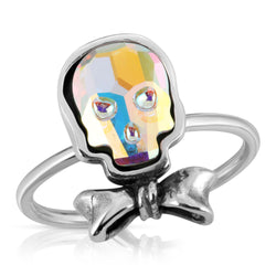 The W brothers Swarovski Skull Ring in Opal with a gorgeous silver bowtie crafted from premium Grade A Sterling Silver. Perfect jewelry accessory ring for fashionable statement women. Available at www.thewbros.com