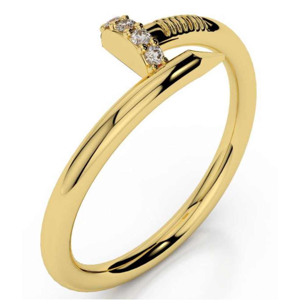 18K Solid Gold Diamond Nail Ring (0.04 ctw)