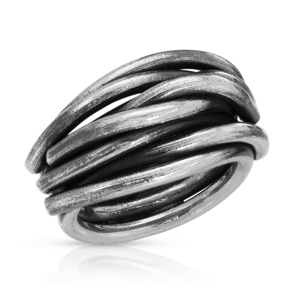 Thick Woven Silver Ring - The W Brothers, women ring, braided ring, thick braided silver ring for women woman 925 sterling silver ring