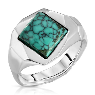 The W Brothers Square Turquoise Ring in 925 Sterling Silver, perfect for women and female.